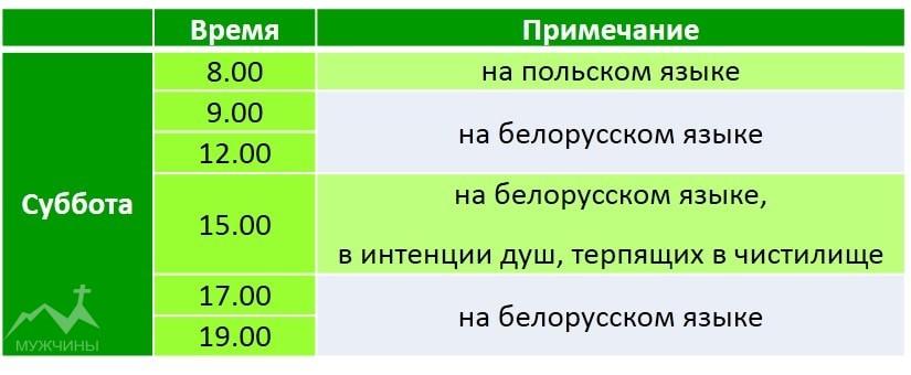 Красный костел в Минске расписание служб в субботу