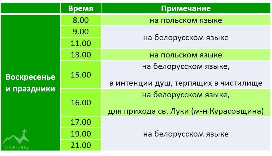 Красный костел в Минске расписание служб в воскресенье и праздничные дни