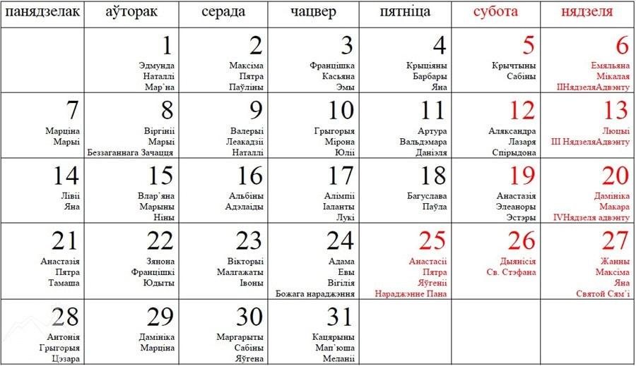 Католический календарь на декабрь 2015 года