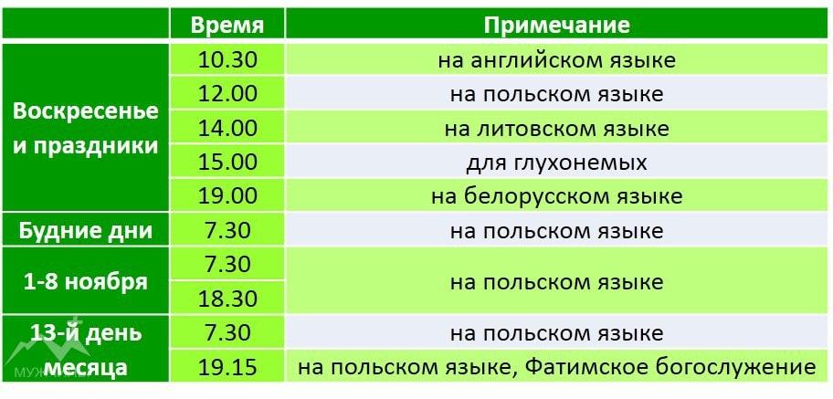 Расписание служб в Бригитском костеле в Гродно