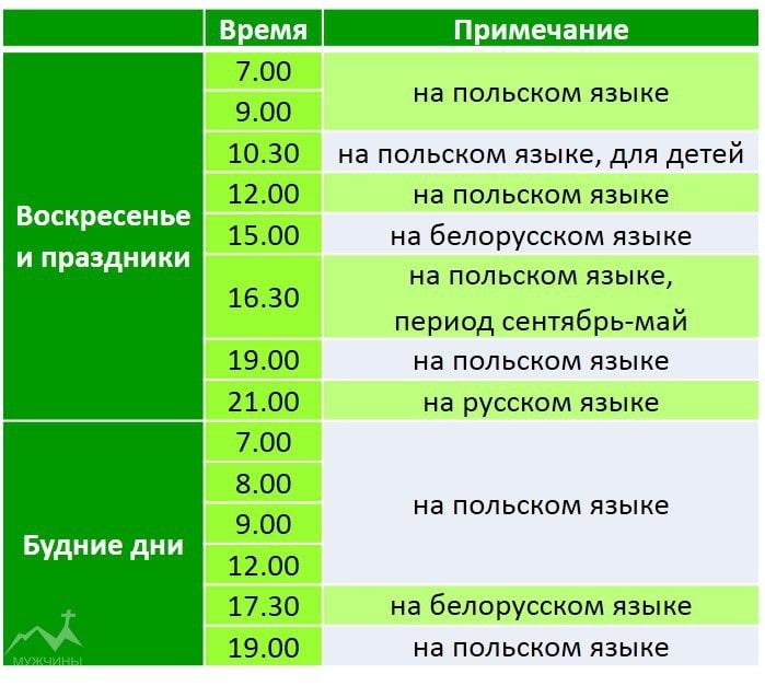 Расписание служб в Фарном костеле в Гродно
