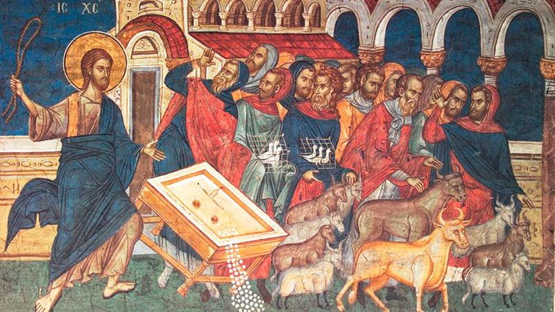 Иисус изгоняет торговцев из храма икона